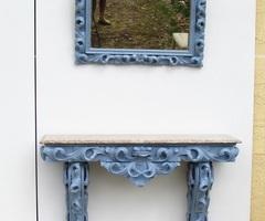 Console et miroir , style Rococo, modernisés