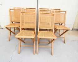 Chaise pliante cannée , 6 pièces en stock