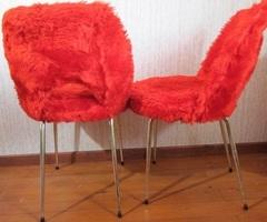Paire de chaises cocktails , vintage , moumoute