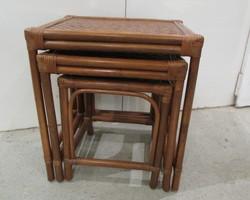 Tables gigognes rotin,bambou et osier tressé