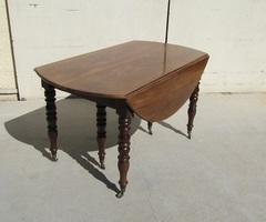 Table ovale à rabats , 6 pieds en acajou massif