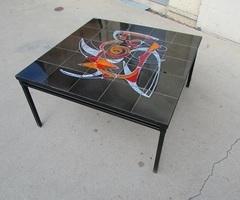 Table basse carrée du céramiste belge : ADRI , vendue