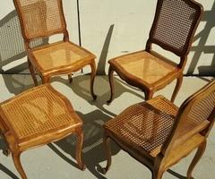 4 chaises Régence cannées, vendu