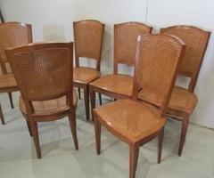 6 chaises en hêtre teintées merisier , cannées , vendu