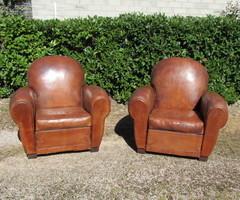 Paire de fauteuils club cuir des années 30 ,vendu