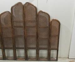 Tête de lit bois courbé et cannage , vendu