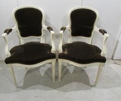 Paire de fauteuils cabriolet , chocolat , vendu