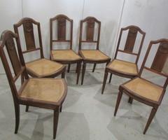 6 chaises art déco, en noyer et cannage , vendu
