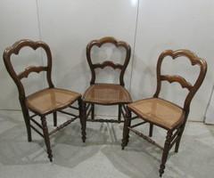 Série de 3 chaises Louis Philippe , cannées , vendu