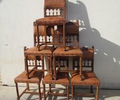 6 chaises noyer et cuir, style Renaissance , vendu