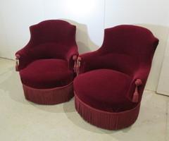 Jolie paire de fauteuils crapaud, époque Napoléon III , vendu