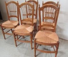 5 chaises en hêtre , dossier gerbes