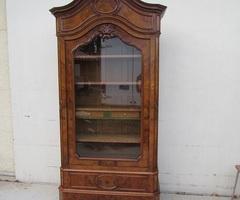 Armoire une porte , bibliothèque ancienne en loupe de noyer ,vendu