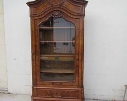 Armoire une porte , bibliothèque ancienne en loupe de noyer