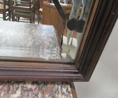 Miroir biseauté , cadre bois sobre
