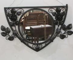 Miroir fer forgé noir , roses, vendu