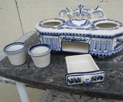 Encrier de bureau en porcelaine blanche et bleue