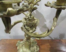 Paire de chandeliers en bronze art-nouveau