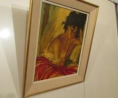 Peinture à l'huile signée ROKA , la gitane