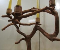 Chandelier en branche d'olivier, très Design