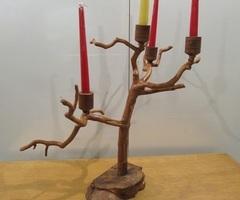 Chandelier 4 feux en bois d'olivier