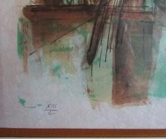 """Lithographie couleurs """" Venise"""" Jean Pradel sous verre"""