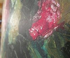 Peinture à l'huile : bouquet d'oeillets en vase