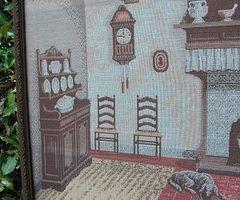 Grande tapisserie encadrée, scene d'antan