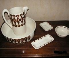 Necessaire de toilette ancien, 5 pièces : Promo : 95 €