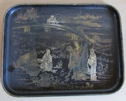 Ancien plateau en carton bouilli napoléonnien