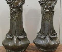 Paire de vases Art nouveau en régule ,vendu