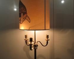 Lampadaire bronze et laiton , style bouillotte