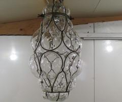 Belle suspension  lanterne en verre soufflé ,vendu