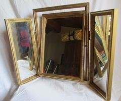 Miroir trityque, cadre doré et basculant