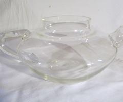 Théière ancienne en verre soufflé, cafetière pyrex , vendu