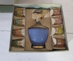 Service à liqueur vintage en verre granité multicolore ,vendu