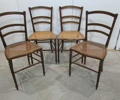 4 chaises 19ème , en noyer et cannage ,vendu