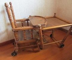 Chaise haute d'enfant , en bois , début 20ème