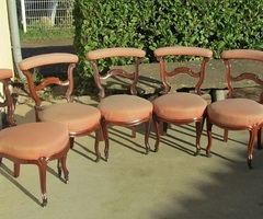 Lot de 5 chaises dites ponteuses ou voyeuses, Napoléon III , en acajou , PROMO : 280 €