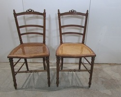 Paire de chaises 19ème , assise cannée