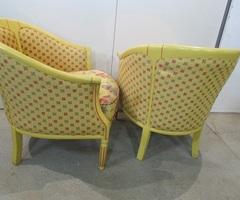 Paire de fauteuils bergères, chauffeuses, forme corbeille