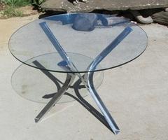 Table d'appoint, verre et chrome , vendu