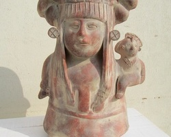 Statuette inca, aztèque , mère native et son enfant