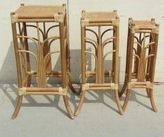 Lot de 3 sellettes empilables , rotin et bambou , vendues
