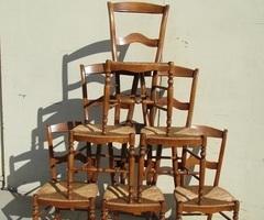Lot de 6 chaises en hêtre paillées vendues