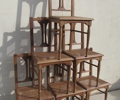 Lot de 6 chaises art déco , cannées en noyer , vendues
