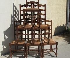 Série de 6 chaises paillées et hêtre