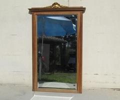Miroir biseauté de cheminée, en noyer ,art déco, 1920