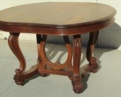 Table ovale Art Nouveau en noyer, 12-14 personnes