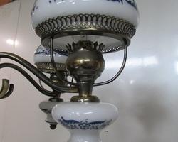 Lustre suspension 5 feux ,vintage , opaline et laiton